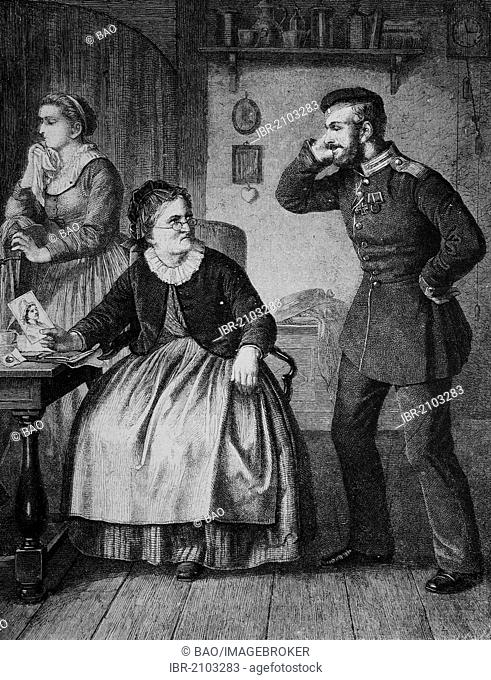 Landwehrmann und Kurmaerkerin, a soldier of the Prussian and Imperial German reserve forces and a woman from Kurmark, wood engraving, about 1880