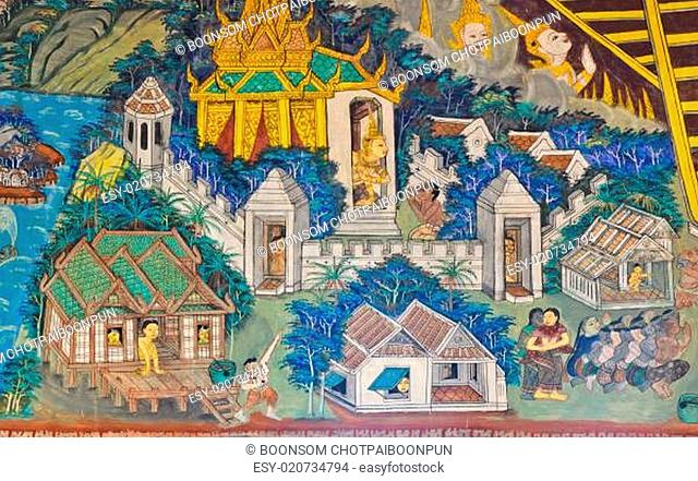 Ancient Buddhist temple mural depicts Thai lifestyle in the past