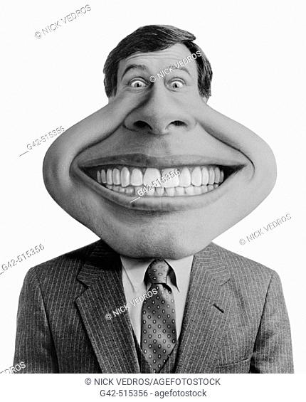 Businessman with enormous smile