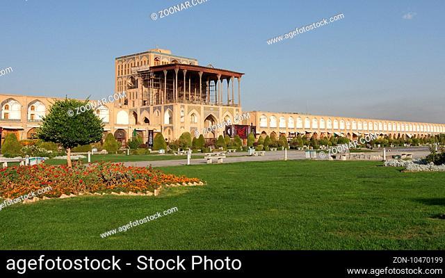 ISFAHAN, IRAN - OCTOBER 11, 2016: Ali Qapu Palace on Meydan-e Imam on October 11, 2016 in Isfahan, Iran