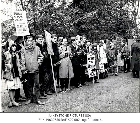 Jun. 30, 1963 - Ban the Bombers at Birch Grove: Supporters of the Campaign for Nuclear Disarnment and the Committee of 100 this morning congregated at Birch...