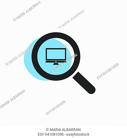 Magnifying glass looking for a computer isolated web icon. Vector illustration