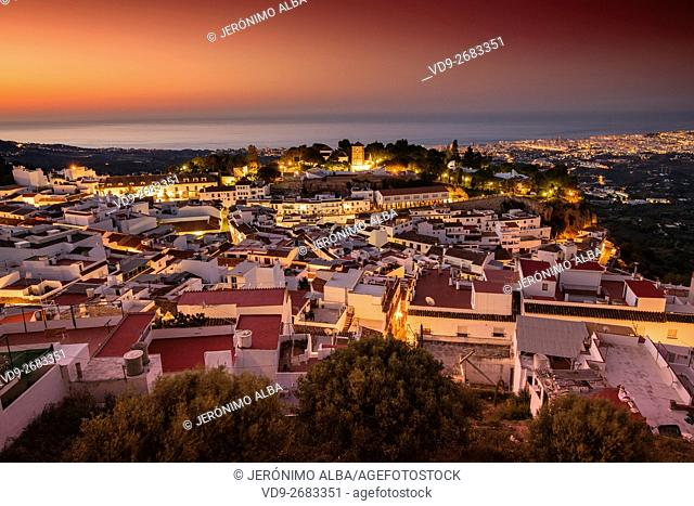 Panoramic view, white village of Mijas at dawn. Malaga Costa del Sol, Andalusia, Spain Europe