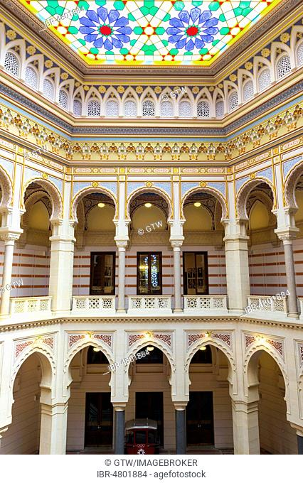 Stained-glass ceiling, Vijecnica or City Hall Interior, Former National University Library, Sarajevo old town, Bosnia and Herzegovina