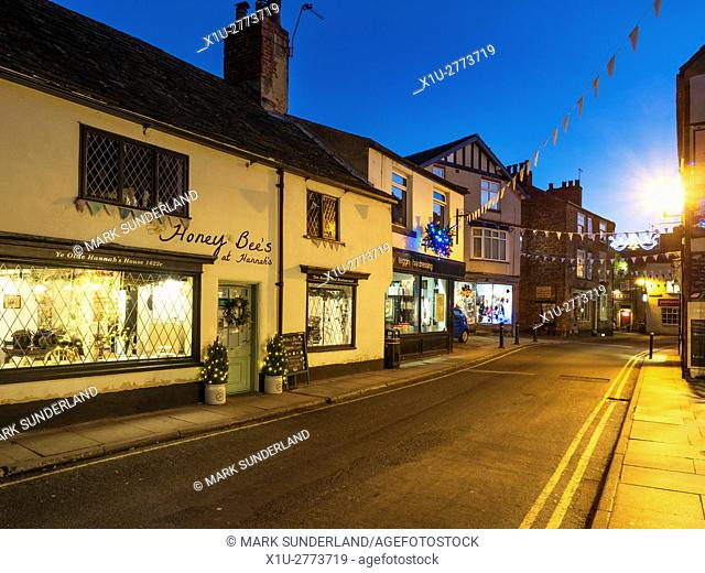Castlegate at Dusk at Christmas Knaresborough North Yorkshire England