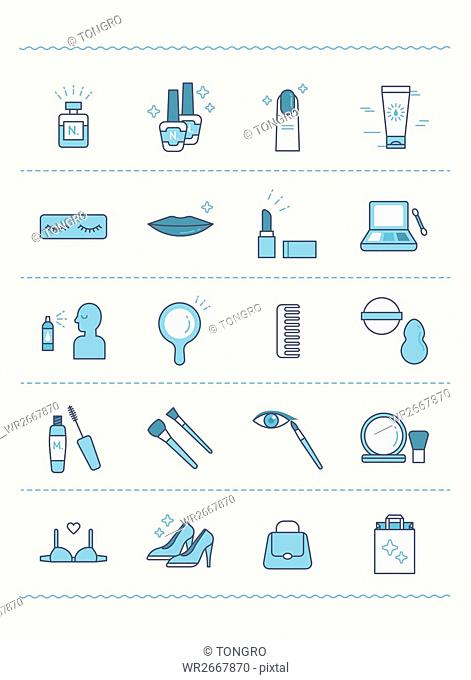 Set of various line icons related to women's beauty