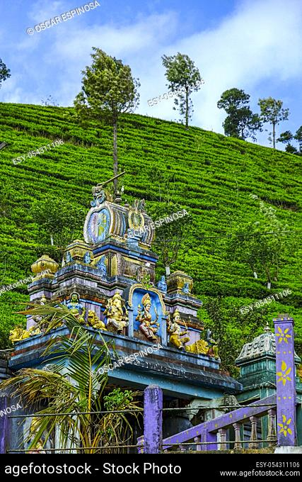 Hindu temple near a tea plantation in Nanu Oya, Sri Lanka