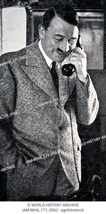 Adolf Hitler (1889 - 1945); German politician, demagogue. leader of the Nazi Party (Nationalsozialistische Deutsche Arbeiterpartei; NSDAP)