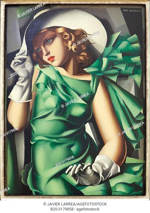 """""""Jeune fille en vert"""", 1927-1930. Tamara de Lempicka. Centre George Pompidou. Musee National d'Art Moderne. Paris. France"