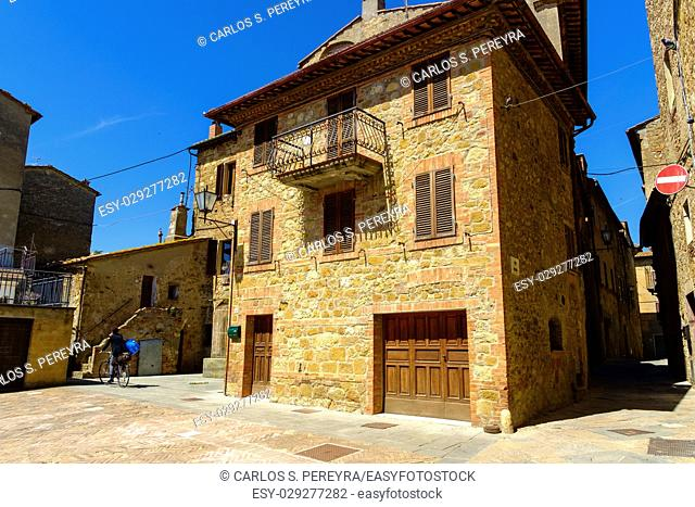 streets of the medieval town of Pienza Tuscany Italy
