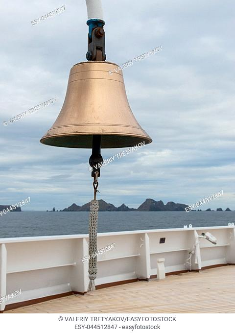 Bell on ship with sailor's knot on clapper. Cape Horn