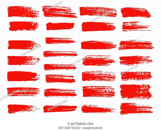 Painted grunge stripes set. Red labels, background, paint texture. Brush strokes vector. Handmade design elements