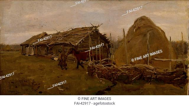 The haystack by Serov, Valentin Alexandrovich (1865-1911)/Oil on canvas/Realism/1901/Russia/State A. Radishchev Art Museum