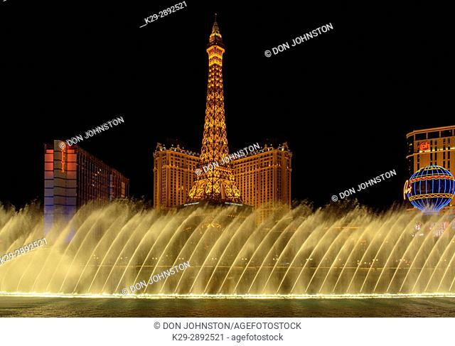 Fountains of Bellagio with Paris Hotel, Eiffel Tower replica, Las Vegas, Nevada, USA