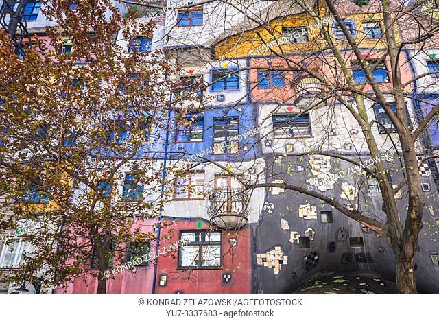 Hundertwasserhaus - famous apartment house in Vienna, Austria, view from Kegelgasse street