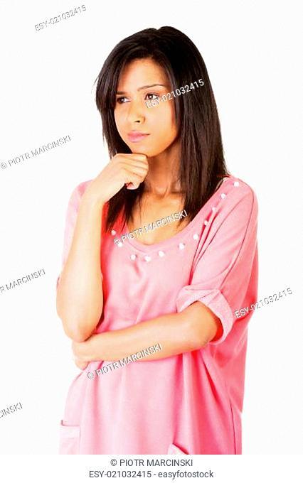 Beautiful woman is thinking