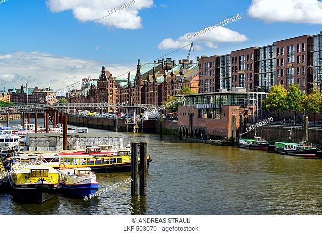 Ships in inland port with old and modern buildings of the old Warehouse district, Warehouse district, Speicherstadt, Hamburg, Ge