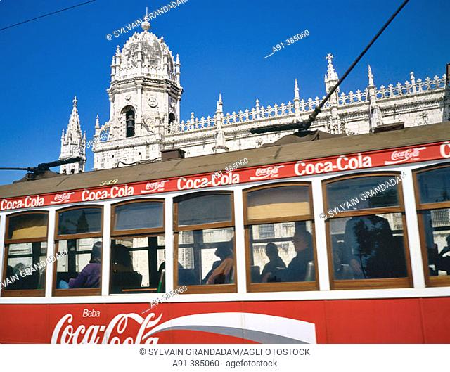 Tram ('electrico') passing by the Jeronimos monastery a Belem. Lisbon. Portugal