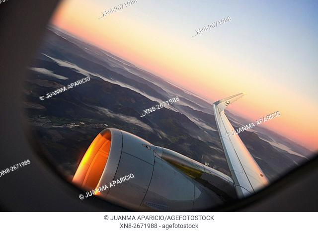 View from the Airplane Window at Sunset