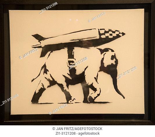 Elephant with bomb. Banksy exhibition. Moco Museum. Amsterdam. Netherlands