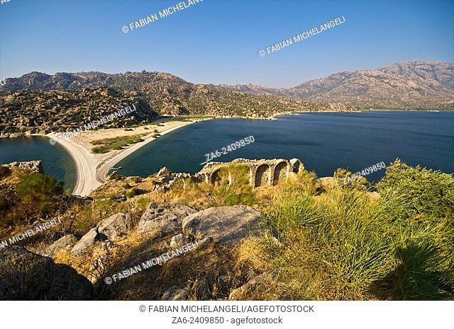 Ruins of Bizantine castle and monastery in the Izliker Islet, Ä°kizada (Twin Islands), in Lake Bafa. Mugla, Turkey