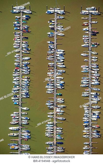 Aerial view, sailboats, landing stage, Hamburger Yachthafen-Gemeinschaft e.V., Elbe, Wedel, Schleswig-Holstein, Germany