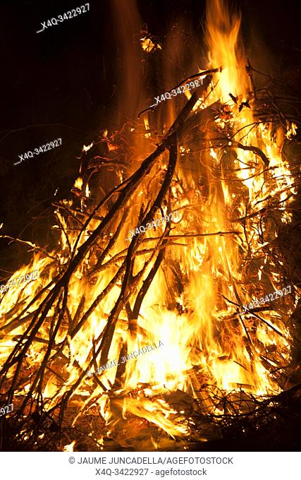 Bonfire of San Antonio party in Teruel province. Spain