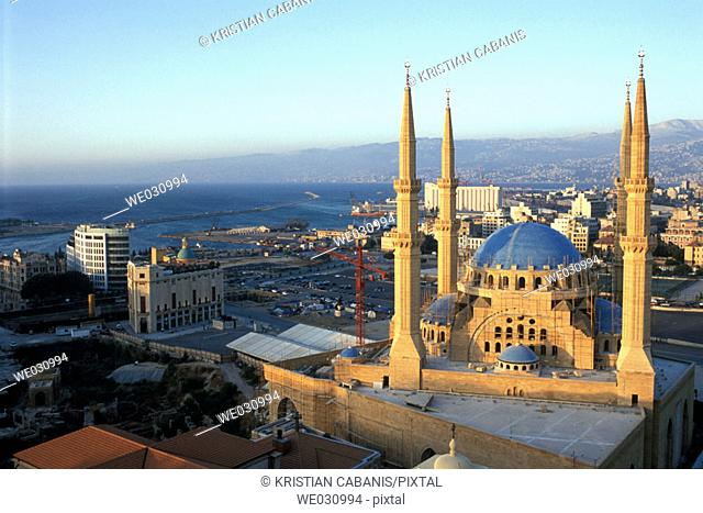 The new Mahammed Al-Amine Mosque and view on downtown Beirut iwth coastline. Lebanon