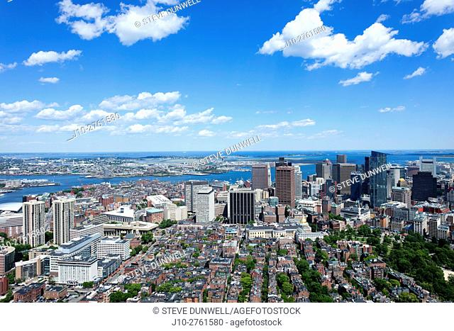 Beacon Hill and downtown Boston, aerial view, Massachusetts, USA