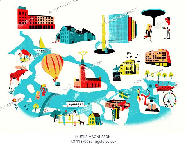 Tourist attractions map of Stockholm, Sweden