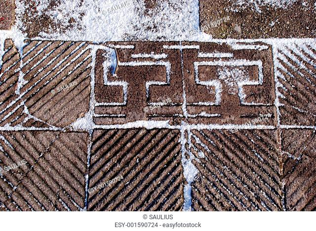 Snow-covered tiles