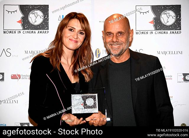 Actress Paola Cortellesi, director Riccardo Milani during the photocall of award WICA Women in Cinema Award at the 15th Rome Film Festival, Alice nella citta'