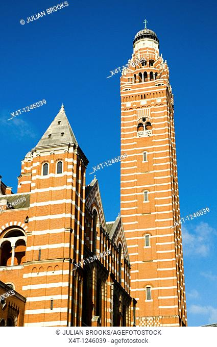 Westminster Cathedral detail, blue sky, sunshine  Looking upwards at the tower