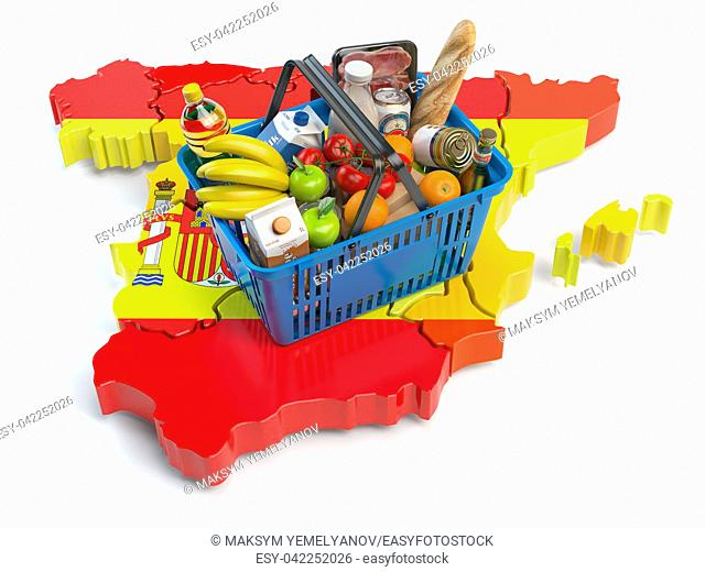 Market basket or consumer price index in Spain. Shopping basket with foods on the map of Spain. 3d illustration