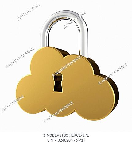 Cloud sign as padlock, isolated on white, illustration