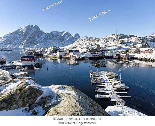 The harbour of Sund. Fishing village Sund on the Lofoten Islands in northern Norway during winter. Europe, Scandinavia, Norway,February