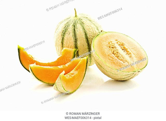 Sugar melons on white background, close up