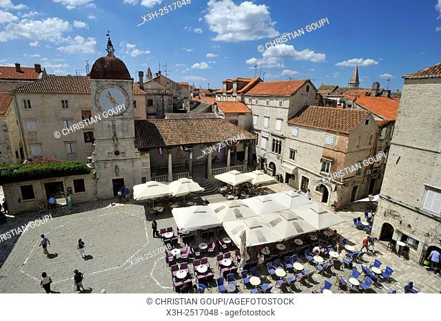 Ivana Pavla II square viewed from the bell tower of Cathedral of St. Lawrence, Trogir, near Split, Croatia, Southeast Europe