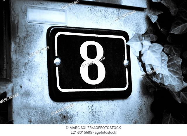 Number eight on wall