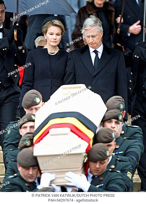 Belgian King Philippe and Queen Mathilde attend the funeral of Belgian Queen Fabiola at the Cathedral of St. Michael and St