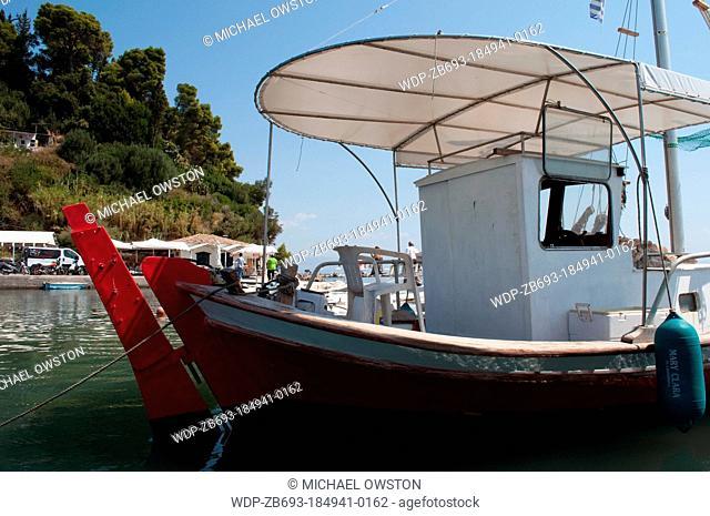 fishing boat harbour Kanoni Kanoni Peninsula Corfu Greece