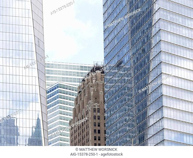 Four towers in lower Manhattan: One World Trade Center (2014), by SOM; Goldman-Sachs Headquarters Building (2010), by Pei Cobb Freed; the New York Telephone...