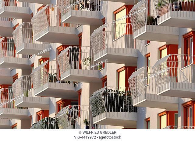 Balconies of modern residential complex Bike & Swim in Vienna - 01/01/2014