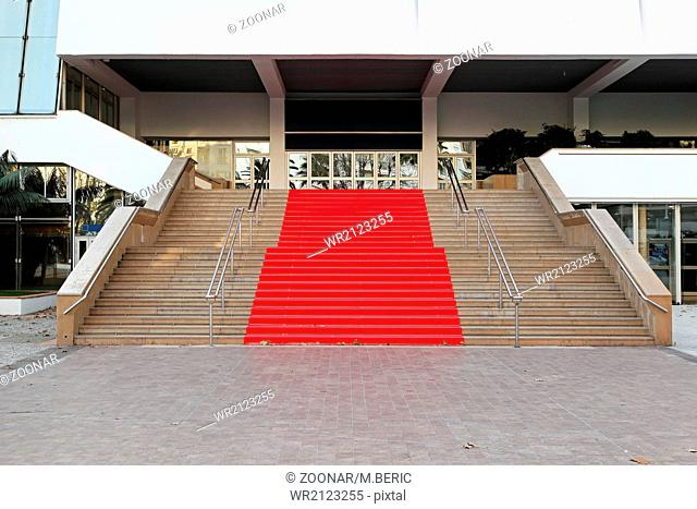 Famous red carpet stairway at festival hall in Cannes