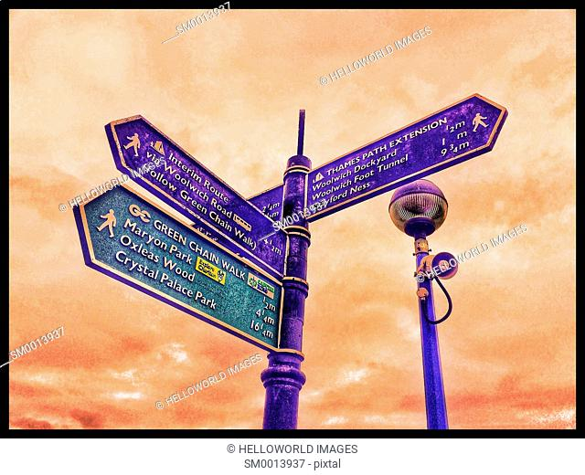 Direction sign on the Thames path and Green Chain walk, London, England