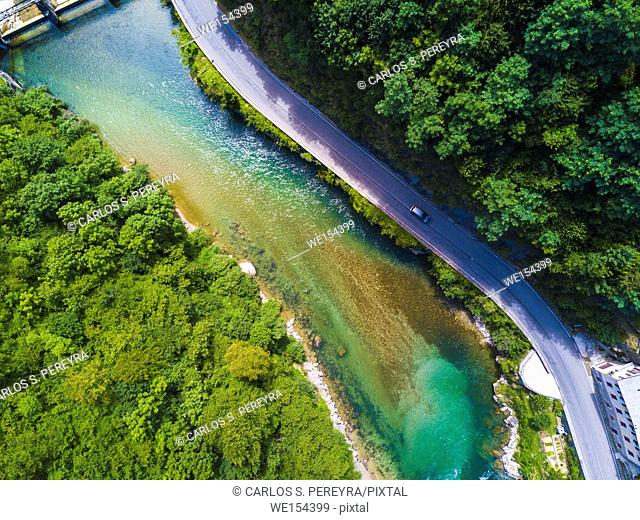 Aerial view of Brembana river in Bergamo province north of Italy Europe