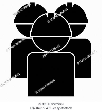 Labors group workers in helmet icon black color vector illustration flat style simple image
