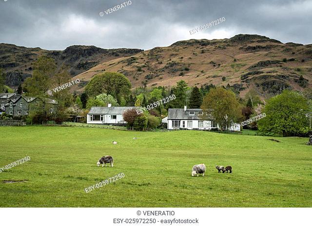 Beautiful old village landscape nestled amongst hills in Lake District