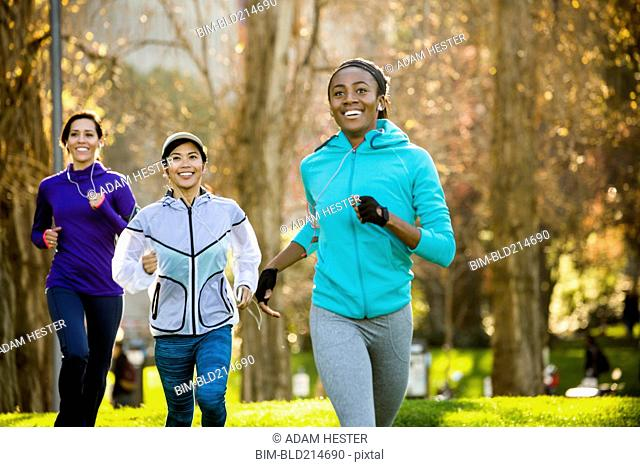 Women running in park