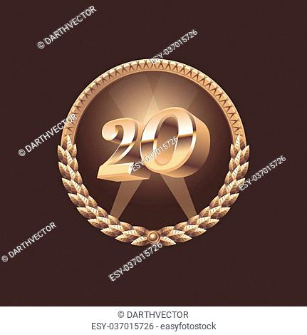 Twenty years anniversary celebration design. Golden seal logo